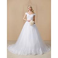 De Baile Decote V Cauda Catedral Renda / Tule Vestidos de casamento feitos à medida com Apliques / Renda de LAN TING BRIDE®