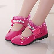 baratos Sapatos de Menina-Para Meninas Sapatos Couro Ecológico Primavera Verão Sapatos para Daminhas de Honra Rasos para Preto / Pêssego / Rosa claro / TR
