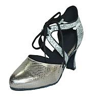 billige Moderne sko-Dame Moderne Kunstlær Sandaler Innendørs Kustomisert hæl Gull Svart Sølv Grå