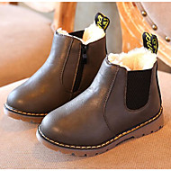 baratos Sapatos de Menino-Para Meninos sapatos Couro Ecológico Inverno Outono Conforto Botas de Neve Botas Caminhada Botas Curtas / Ankle Vazados para Casual Preto