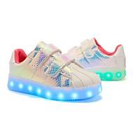Meisjes Schoenen Pailletten Kunstleer Lente Herfst Lichtzolen Oplichtende schoenen Sneakers Pailletten Magic tape LED Voor Causaal Wit