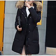 Langærmet Normal Vatteret Damer Frakke,Gade I-byen-tøj Ensfarvet-Polyester Polypropylen