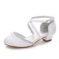 billige Sko til blomsterpiger-Pige Sko Silke Forår Tiny Heels for teenagere / Sko til blomsterpiger / Ankelrem Hæle Bjergkrystal / Applikeret broderi / Spænde for