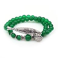 สำหรับผู้หญิง สีเขียวสว่าง สร้อยข้อมือ Strand สร้อยข้อมือ Wrap หินอัญมณี Animal สุภาพสตรี ชาติพันธุ์ สร้อยข้อมือ เครื่องประดับ สีเขียว สำหรับ ปาร์ตี้ ทุกวัน