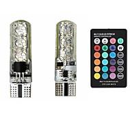 sencart 2×t10 6smd 5050 rgbw LED車の内部の読書灯スーパー明るい16色の幅のランプウェッジのサイドライトをワイヤレスリモコンで変更