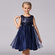cheap -Kids Girls' Sweet / Princess Party Solid Colored / Floral Sequins / Layered Sleeveless Polyester Dress Purple