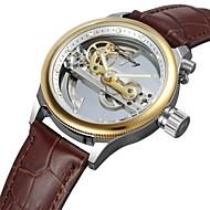 FORSINING Homens Relógio de Moda Relógio Elegante Relógio de Pulso Automático - da corda automáticamente Impermeável Gravação Oca Couro
