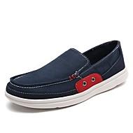 tanie Small Size Shoes-Męskie Buty Płótno Wiosna Jesień Comfort Mokasyny i pantofle Na Casual Dark Blue Gray Army Green