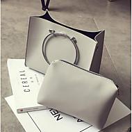 Χαμηλού Κόστους Σετ τσάντες-Γυναικεία Τσάντες PU Σετ τσάντα 2 σετ Σετ τσαντών Φερμουάρ Μαύρο / Γκρίζο