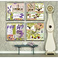 baratos Quadros com Moldura-Vintage Floral/Botânico Ilustração Arte de Parede,PVC Material com frame For Decoração para casa Arte Emoldurada Sala de Estar Quarto