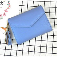 Women Bags PU Wallet Buttons Tassel for Casual All Season Black Blushing Pink Gray Light Purple Sky Blue