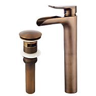 billige Rabatt Kraner-Art Deco/Retro Centersat Foss Keramisk Ventil Enkelt Håndtak Et Hull Antikk Kobber, Baderom Sink Tappekran