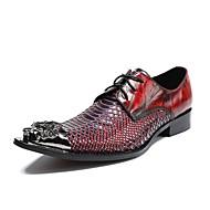 お買い得  紳士靴-男性用 靴 レザー 春 夏 アイデア オックスフォードシューズ のために 結婚式 パーティー レッド