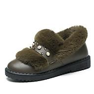 レディース 靴 PUレザー 冬 秋 ライト付きソール フラット ラウンドトウ パール 用途 カジュアル ブラック グレー アーミーグリーン
