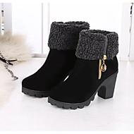 abordables -Femme Chaussures Gomme Tissu Hiver Automne Bottes à la Mode Bottes Talon Bas Bottes Mi-mollet pour Décontracté Noir Vin