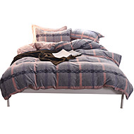 Duvet Cover Sets Plaid/Checkered 4 Piece Flannel Reactive Print Flannel 1pc Duvet Cover 2pcs Shams 1pc Flat Sheet