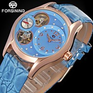 FORSINING Dámské Módní hodinky Hodinky k šatům Náramkové hodinky Automatické natahování S dutým gravírováním Kompas Kůže Kapela Vintage