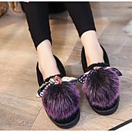 baratos Sapatos Femininos-Mulheres Sapatos Borracha / Courino Outono Conforto / Pom Pom Rasos Preto / Roxo / Verde