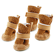 cheap Pet Supplies-Dog Boots / Shoes Snow Boots Keep Warm Fashion Solid Brown Pink For Pets