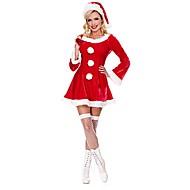 بابا نويل Mrs.Claus كوستيوم نسائي كريسماس عيد الميلاد عطلة / عيد ملابس أحمر لون سادة