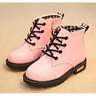 女の子 靴 PUレザー 秋 冬 コンフォートシューズ コンバットブーツ ブーツ 用途 カジュアル ブラック ピーチ ピンク