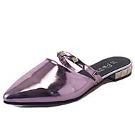 Damer Sko PU Sommer Komfort daske støvler Sandaler Gang Kraftige Hæle Spidstå Paillette Til Afslappet Guld Sort Sølv Mørkeblå Rosa