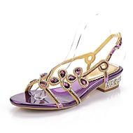 cheap Women's Sandals-Women's Shoes Polyurethane Spring / Summer Fashion Boots Sandals Open Toe Rhinestone / Crystal / Sparkling Glitter Gold / Black / Purple