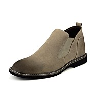 お買い得  メンズブーツ-男性用 靴 フロック加工 PUレザー 春 秋 コンフォートシューズ ブーツ ゴア のために カジュアル ブラック グレー カーキ色