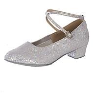 """billige Moderne sko-Dame Moderne Kustomiserte materialer Høye hæler Innendørs Lav hæl Gull Sølv 1 """"- 1 3/4"""" Kan spesialtilpasses"""