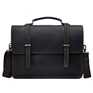 Men Bags Cowhide Briefcase Pockets Zipper for Office & Career All Season Black Coffee Brown