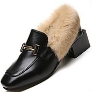 レディース 靴 PUレザー 冬 コンフォートシューズ ローファー&スリップアドオン チャンキーヒール ラウンドトウ 用途 カジュアル ブラック
