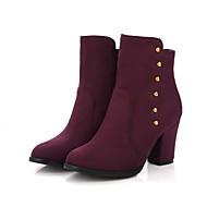 Feminino Sapatos Flocagem Primavera Outono Conforto Botas da Moda Curta/Ankle Botas Ponta Redonda Botas Curtas / Ankle Tachas Para Casual