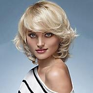 halpa -Naisten Ihmisen hiukset Capless Peruukit Musta Beige Blonde // Bleach Blonde Chestnut Brown / Bleach Blonde Keskikokoinen Luonnolliset