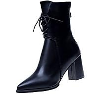 Damer Sko PU Vinter Komfort Modestøvler Støvler Spidstå Støvletter Til Afslappet Sort Grøn