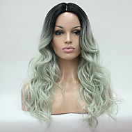 Hivision Heat Resistant Ombre Off Black And Celadon Wavy Long Wig small edge lace front Synthetic Wigs