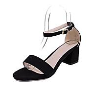 レディース 靴 スエード 夏 サンダル ウォーキング チャンキーヒール ラウンドトウ コンビ 用途 ブラック グレー ピンク