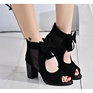 baratos Sapatos Femininos-Mulheres Sapatos Pele Nobuck Primavera / Outono Plataforma Básica Sandálias Laço Preto / Azul
