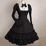 أميرة القوطية لوليتا بانغك فستان كشكش نسائي للفتيات فساتين تأثيري أسود جرس كم طويل ميدي ازياء