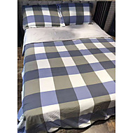Contemporary 4 Piece Linen/Cotton Yarn Dyed Linen/Cotton 1pc Duvet Cover 2pcs Shams 1pc Flat Sheet