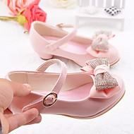 女の子 靴 PUレザー オールシーズン フラワーガールシューズ ヒール リボン 用途 カジュアル ブルー ピンク