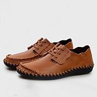 Homens sapatos Pele Verão Conforto Oxfords Preto / Castanho Claro / Castanho Escuro