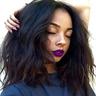 Ljudska kosa Čipka vlasulja Vodeni valovi Bob frizura S mldom kosom Lace Front 100% Djevica Srednji dio 130% Gustoća Boja gagata Crna