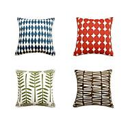 4つ 個 コットン 枕カバー ベッド用枕 旅行用枕 ソファのクッション,幾何学模様 アールデコ調 ファッション アーティスティック モダンスタイル 正方形 装飾 座布団 ギフト レジャー
