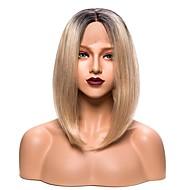 EEWigs Kvinder Syntetiske parykker Blonde Front Kort Ret Sort og Guld Bob frisure Med babyhår Naturlig paryk Festparyk Kostumeparyk