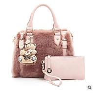 baratos -Mulher Bolsas Pêlo Conjuntos de saco 2 Pcs Purse Set Ziper para Casual Todas as Estações Rosa