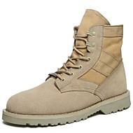 お買い得  特別セール-男性用 靴 ラバー 冬 コンバットブーツ ブーツ ウォーキング ブーティー/アンクルブーツ アイレット のために アウトドア ブラック カーキ色
