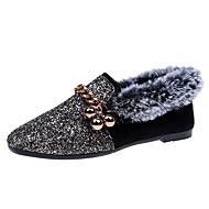 Women's Shoes Paillette Winter Comfort Loafers & Slip-Ons Round Toe For Casual Khaki Black