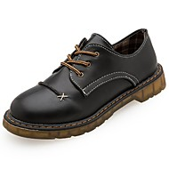 cheap Women's Oxfords-Women's Shoes PU Winter Comfort Oxfords Round Toe For Casual Black Brown