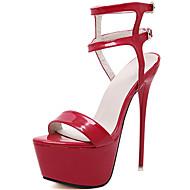 baratos -Feminino Sapatos Couro Envernizado Verão Outono Gladiador Sandálias Peep Toe Para Social Festas & Noite Branco Preto Vermelho