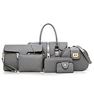 女性用 バッグ PU バッグセット 3個の財布セット ジッパー のために ショッピング ブラック / グレー / Brown